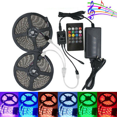 5M 10M 5050 Music Sound Activated RGB LED Strip Light Waterproof+Remote+Adapter