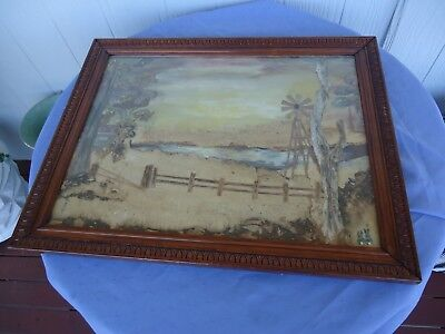 vintage antique wooden picture photo frame bark picture painting