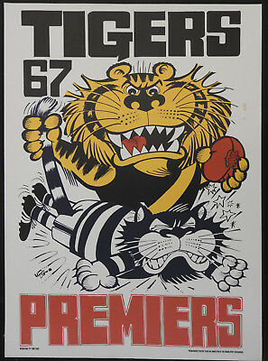 1967 Richmond Limited  Edition Weg poster Tiger crushing Cat Tigers Premiers
