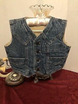 Ely Outerwear Sherpa Lined Denim Western Vest - Boys Size Small