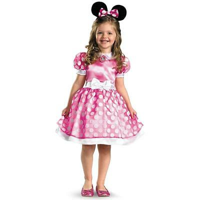 NEW Minnie Mouse Clubhouse Toddler size M 3T-4T Disney Pink Dress Costume