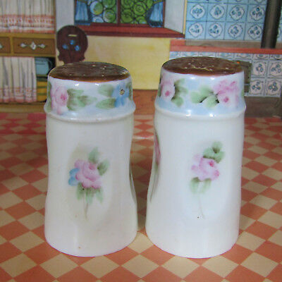 Antique Edwarian Salt Shakers Favorite Bavaria Blue Pink Gold Floral Porcelain
