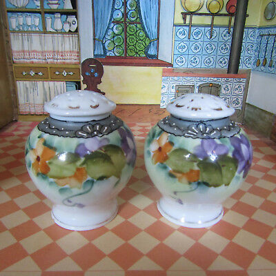 Antique Victorian Edwardian Vtg Hand Painted Gold Floral Salt Shakers Porcelain