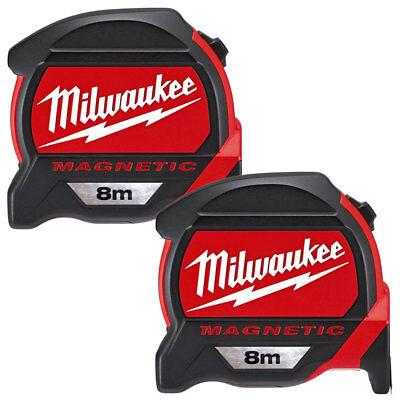Milwaukee 4932464177 8m Premium Magnetic Tape Measure With Finger Stop Pack Of 2