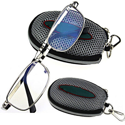 Silver Folding Reading Glasses Men Portable Black Case with Belt Clip +1 to +4.0