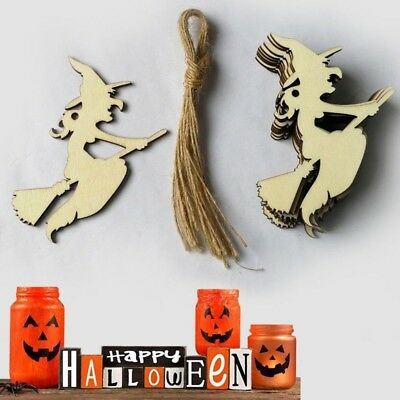 10PCS Wooden Halloween Hanging Witch Pendants DIY Ornament Wall Props WS