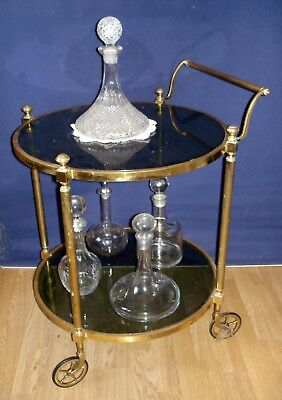 Very Rare Vintage Solid Brass Round Glass Drinks Cocktail Trolley