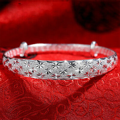 925 Sterling Silver Layered Classic Girl Women Solid Bangle Bracelet Best Gift