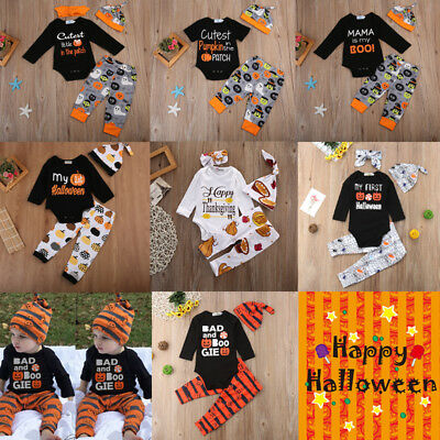 baby boy girls first halloween romper tops jumpsuit pants outfit set clothes usa