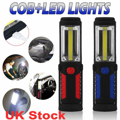COB LED Work Light Torch Rechargeable Cordless Inspection Lamp Mag Hiking Flash