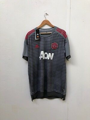 adidas Men's Manchester United 2017/18 Training Shirt - L - No Name - Grey - New