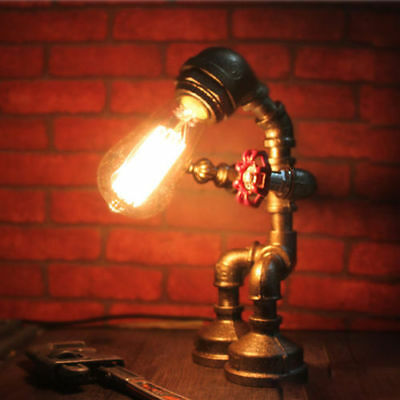 Industrial Water Pipe Steampunk Man Robot Table Desk Lamp Study