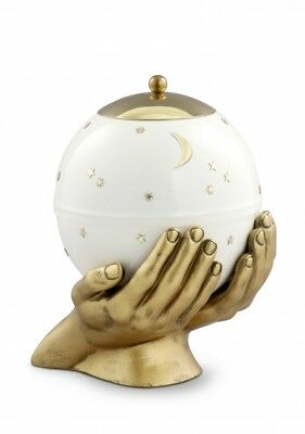 Southsea Metal Moon and Stars White Cremation Ashes Urn - UU580116
