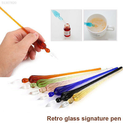 Vintage Creative Crystal Glass Dip Signature Pen Filling Ink Fountain Pens Gift