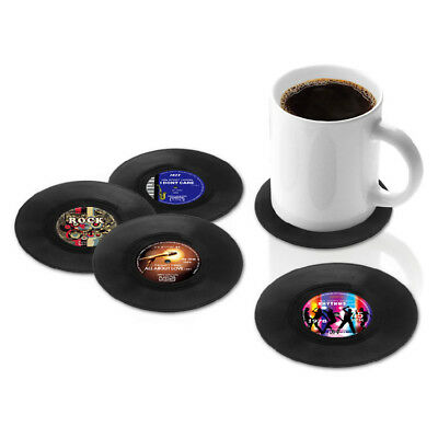 Round Vinyl Coaster Groovy Record Cup Drinks Holder Mat Tableware Placemat