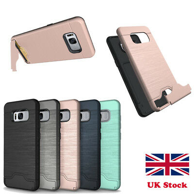 For Samsung S8 Plus Shockproof Protective Card Slot Clip Stand Phone Case Cover