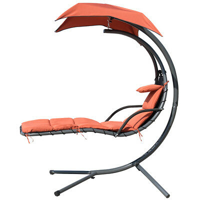 Deluxe Hanging Chaise Lounger Chair Swing Hammock Porch Chai Garden Helicopter