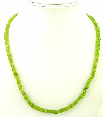 93 Ct Natural Green Peridot Heishi Disc Cube Square Beads Necklace String - B145