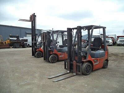 "2005 - 07 Toyota Model 7FGCU20, 4,000#, 4000# Cushion Tired Forklift, 118"" Lift"