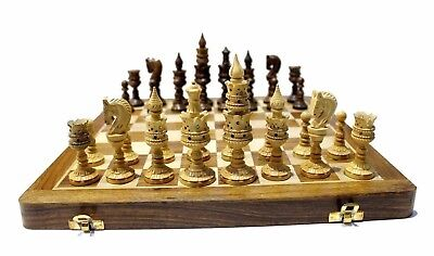 """Exquisitely Hand Carved Detailed Chess AUS Pieces & Wooden Board Chess Set 14"""""""