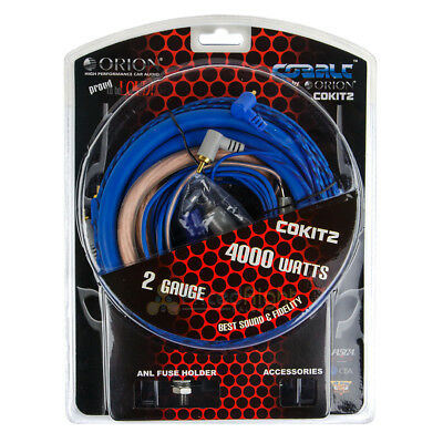 Orion 2 Gauge Amp Installation Wiring Kit  2 GA Install Power Cables 4000W New