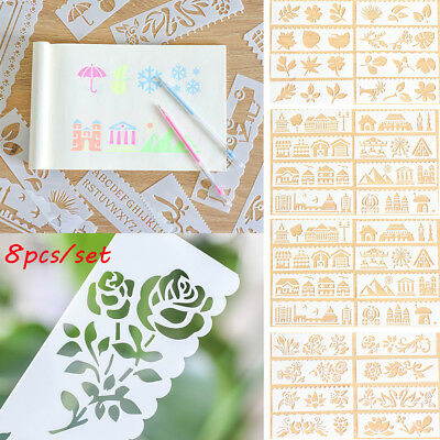 8pcs DIY Flower Layering Stencils For Wall Painting Scrapbooking Paper Template-