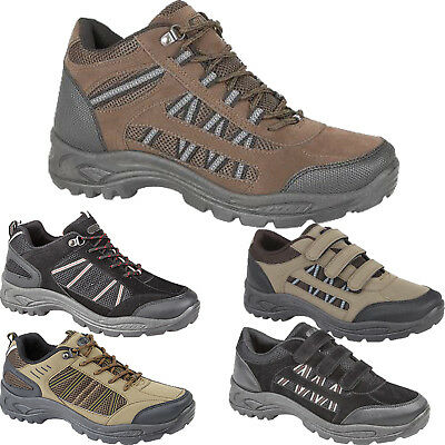New Mens Hiking Boots Walking Ankle Hi Tops Trail Trekking Trainers Shoes Size