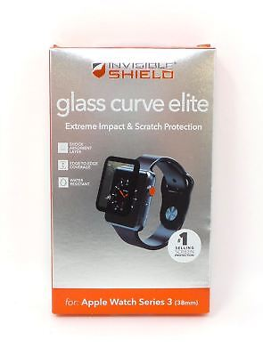 Zagg InvisibleShield Glass Curve Elite for Apple Watch Series 3 38mm Black New