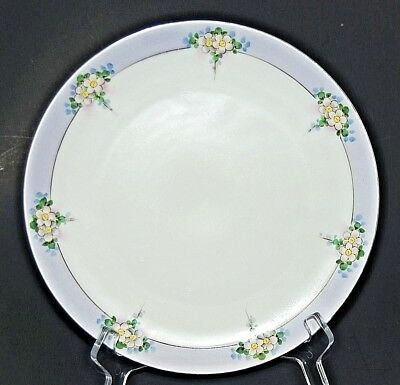 """Antique Hand Painted Nippon 9.25"""" Plate Floral Lavender White Circa 1891-1921"""