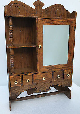 Antique farm house medicine cabinet/spice rack distressed w/beveled mirror