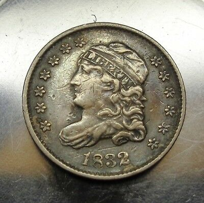 Nice original Extra Fine++ to AU 1832 Capped Bust silver 5C half dime type coin