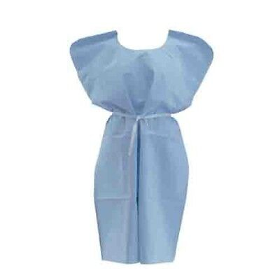 50 PACK! Hospital Patient Gown Medical Exam Gown Blue Lightweight Economy *DEAL*