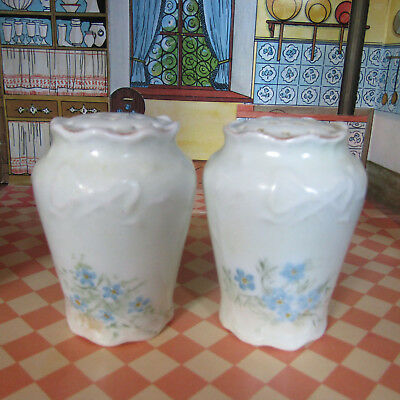 Antique ART NOUVEAU Salt Shakers White Gold Monogrammed R Floral Vtg Porcelain