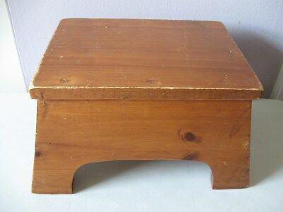 Vintage Amish Handmade Foot Stool - Solid Wood - Heart Cut-Outs On Sides