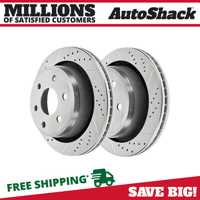Rear Pair (2) Silver Drilled Slotted Rotors 6 Stud Fits 12-2017 2018 Ford F-150
