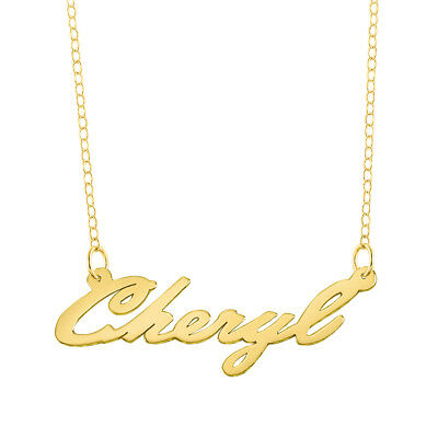 Personalized Sterling Silver and Gold Plated Name Plate Script Chain Necklace