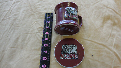 University Of Alabama Crimson Roll Tide Coffee Mug Cup Red/Gray & COASTER