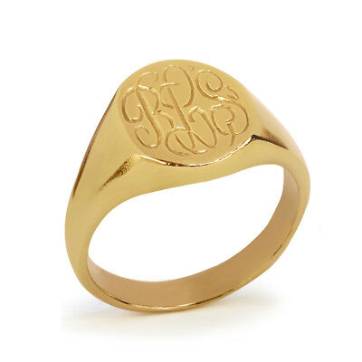 Personalized 925 Sterling Silver High Polished Oval Monogrammed Signet Ring