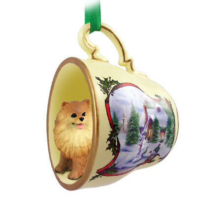 Pomeranian Christmas Ornament Teacup
