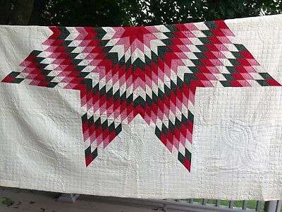 "Vintage late 1800's Lone Star Quilt 85"" x 92"""