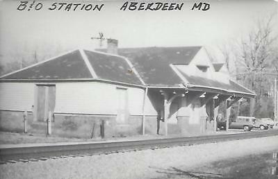 Aberdeen, Maryland, B&O Railroad Depot Real Photo Postcard- RPPC