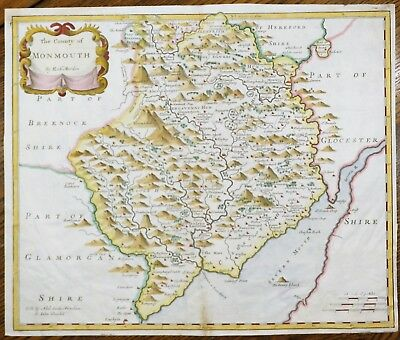 Original Hand Colored Map of Great Britain - MONMOUTH - by Morden in 1695