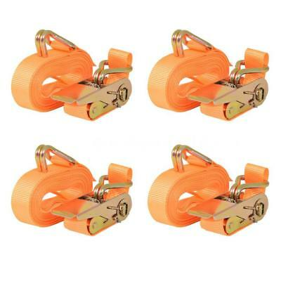 Sangle d'arrimage à cliquet 4 pcs 0,8 tonne 6 m x 25 mm Orange L7U1