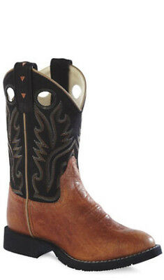 Old West Black Childrens Boys Vintage Leather Round Toe Cowboy Boots