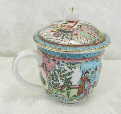 Vintage Chinese Hand-Painted Porcelain Tea Cup with Lid - Gold Rim and Trim