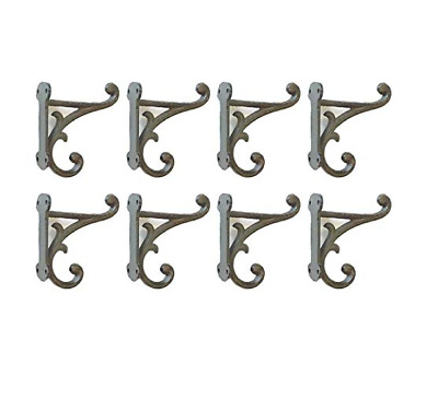 "8 Brown Rustic Coat Hooks Antique Style CAST Iron 4.5"" Wall Double Restoration"