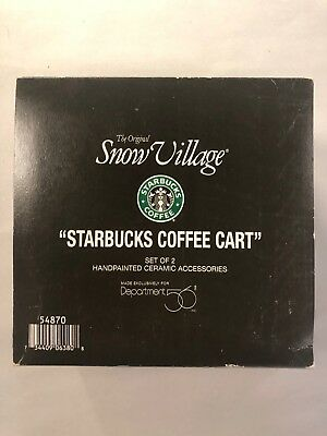 Dept 56 Snow Village Starbucks Coffee Cart Set Of 2 Accessory In Box Retired