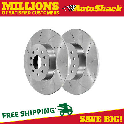 Rear Pair (2) Silver Drilled Slotted Rotors 9 Stud Fits 10-2014 Volkswagen Jetta