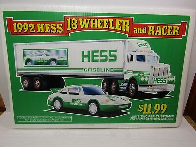 """1992 Hess Sign Stand up of Wheeler and Racer Advertising 12""""x18""""  (383"""