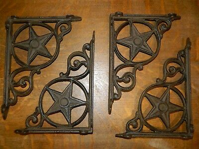 "Set/4 ~9"" Western Star Texas Rustic Cast Iron Shelf Support Wall Brackets Lodge"